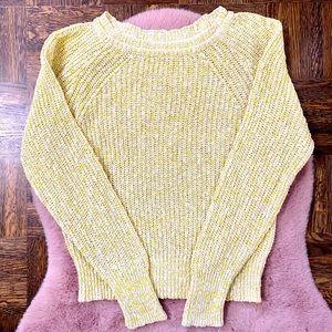 Free People yellow/white knit sweater